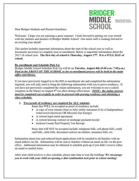 up letter middle school parents and students