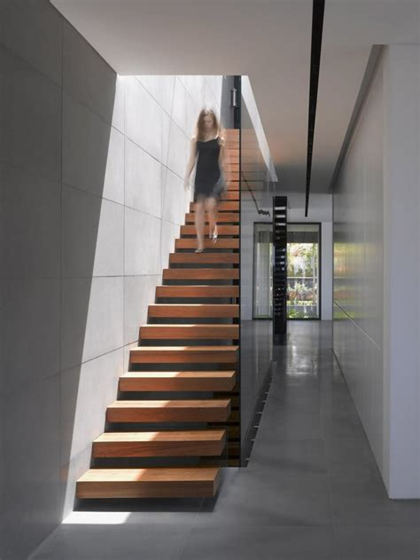 stairs of house that looks minimalistic outside but