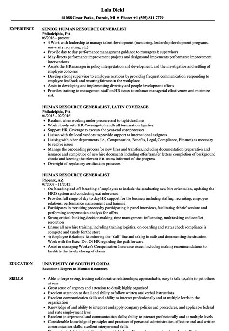Human Resource Generalist Resume by Human Resource Generalist Resume Sles Velvet