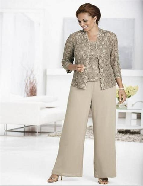 Mother Of The Bride Pant Suits Plus Size With Lace Jacket