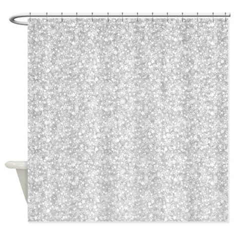 white and silver shower curtain silver gray glitter sparkles shower curtain by artonwear