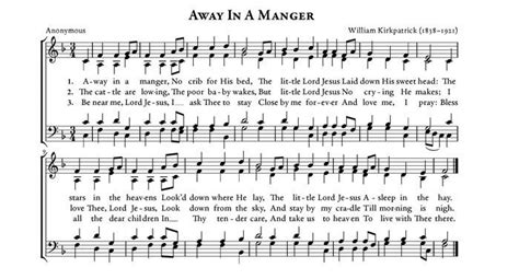 printable lyrics for away in a manger new away in a manger christmas carol free sheet music