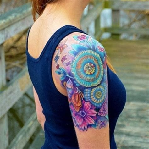 colorful sleeve tattoos colorful unique flower sleeve s