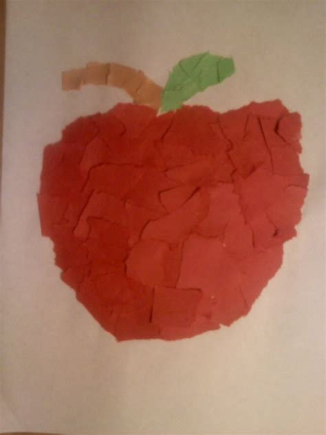 Paper Tearing Craft - apple crafts for preschoolers crafts for preschool