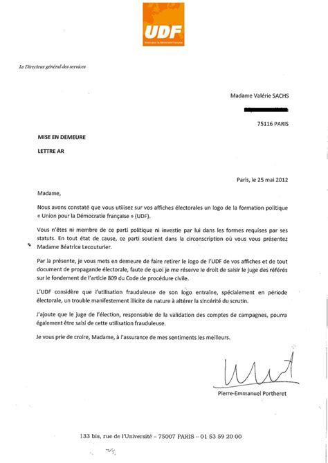 Exemple De Lettre Mise En Demeure Gratuit Modele Mise En Demeure 2015 Document