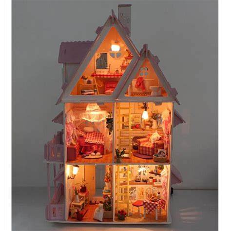 homemade wooden doll houses funny assembling diy miniature model kit wooden doll house unique big size house toy with