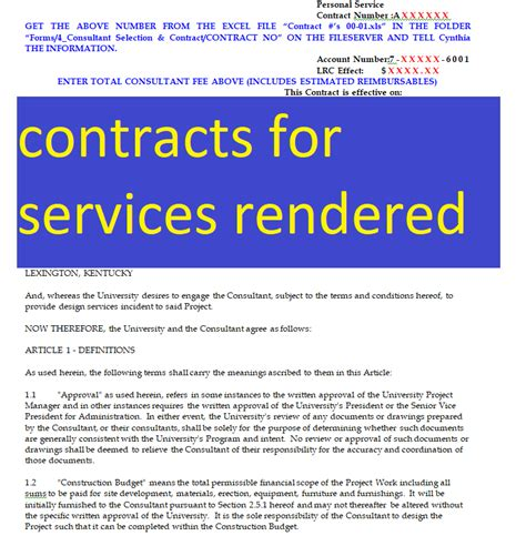 Free Contracts For Services Rendered Doc And Pdf Format Sle Contracts Contract Free Contract Template For Services Rendered