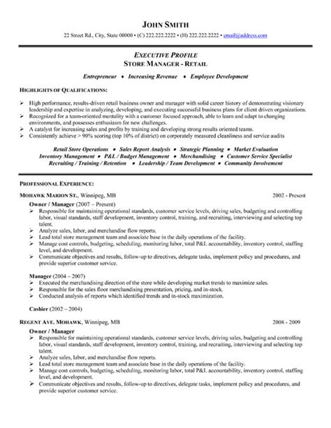 Resume Templates Business Owner Store Manager Or Owner Resume