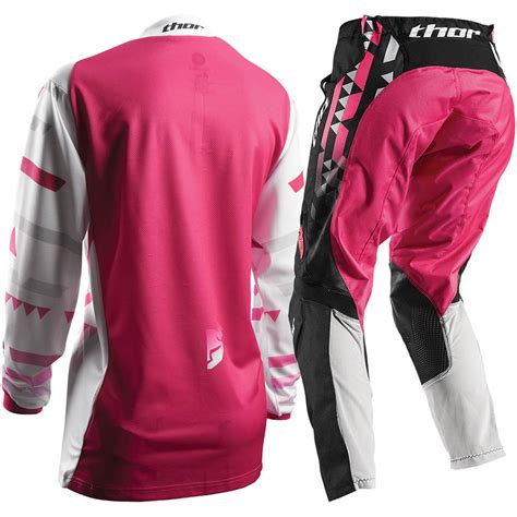 womens thor motocross gear thor 2017 mx new pulse facet jersey pants white pink