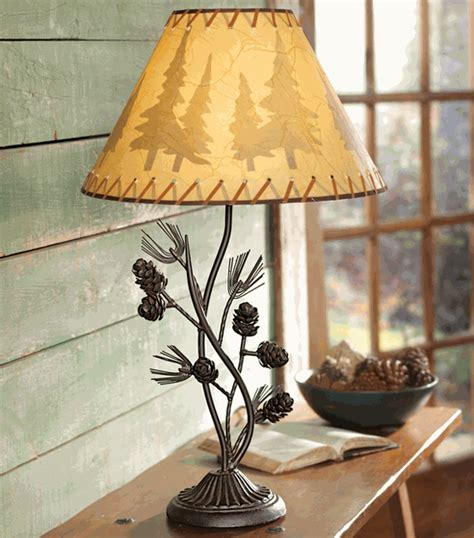 rustic table lamps metal pinecone table lampblack forest