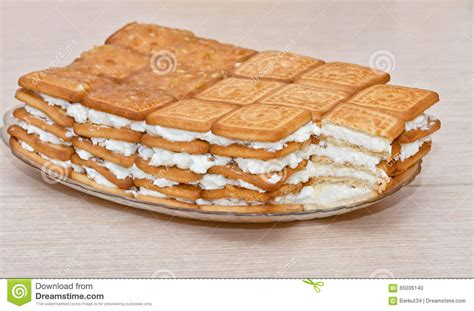 Cake Out Of Biscuits And Cottage Cheese Stock Photo What Is Cottage Cheese Made Out Of