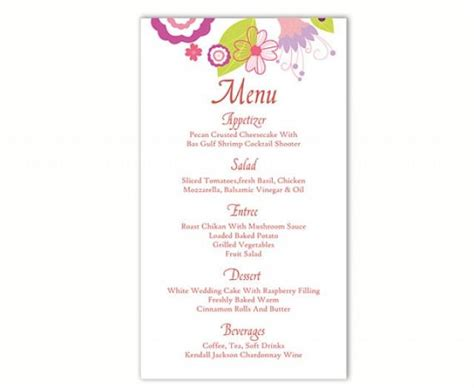 free printable menu cards templates wedding menu template diy menu card template editable text