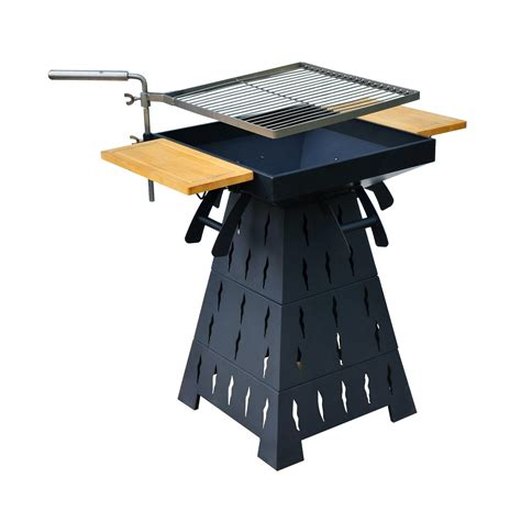 pit grill combo outsunny wood burning charcoal outdoor pit bbq grill