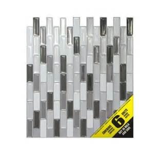 adhesive decorative wall tile smart tiles 9 1 8 in x 10 1 4 in multi colored metallic