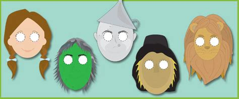 printable wizard mask wizard of oz printable masks the wizard of oz masks for