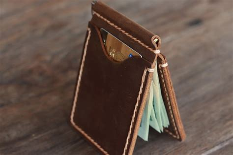 Handmade Leather Money Clip Wallet - money clip men s travel wallet gifts for