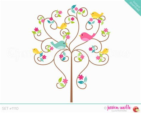 sweet bird and tree clipart set with cute little owl instant download love bird tree cute digital clipart cute