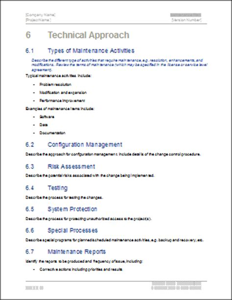 technical approach document template maintenance plan template