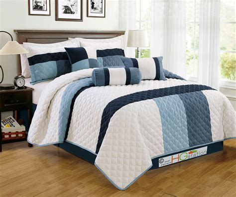 navy blue and white comforter sets 7 p soft faux suede quilted striped patchwork comforter