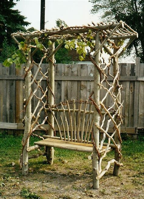 garden bench with trellis rustic garden bench trellis diy weaving and wood