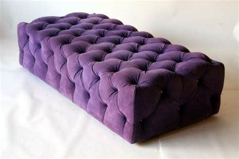 Ottomans Footstools Purple Rectangular Tufted Ottoman Purple Ottoman