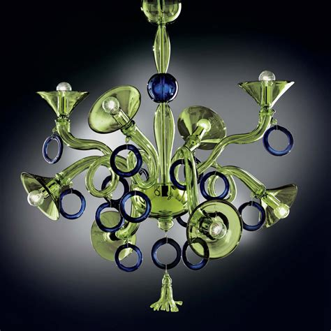 Green And Blue Modern Murano Glass Chandelier Dml503k8gb