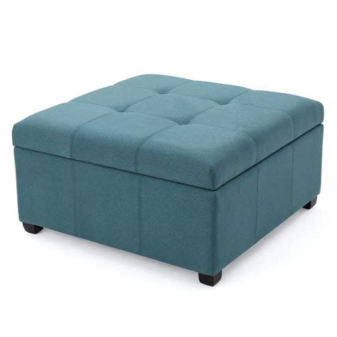 noble house carlsbad teal fabric storage ottoman