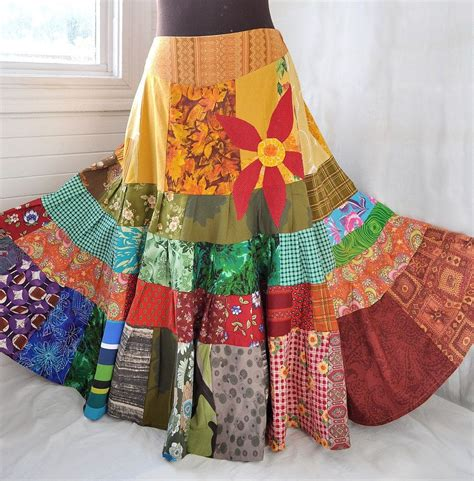 sun patchwork skirt hippie boho skirt sun patchwork skirt hippie boho