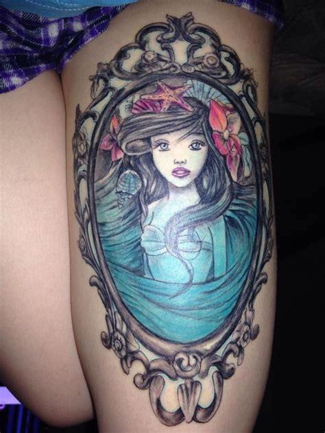 christian johnson tattoo breathtaking mermaid watercolor tattoo on thigh disney