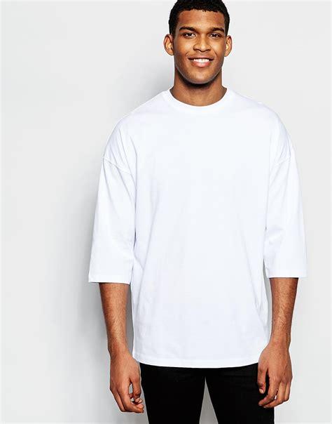 3 4 sleeve oversized sweatshirt asos oversized 3 4 sleeve t shirt in white in white for