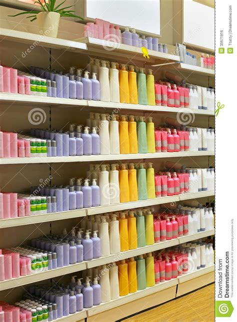 cosmetic store shelf stock photo image of shelves
