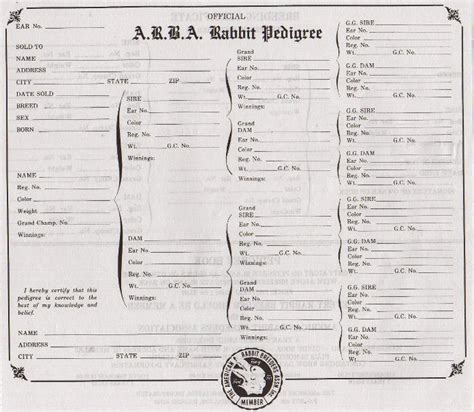 pedigree certificate template free printable rabbit pedigree forms click the image for a