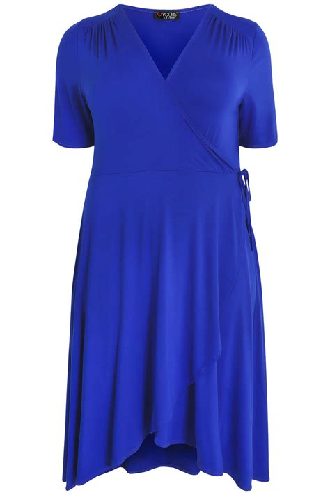 Blue Garment Size 31 34 royal blue wrap dress with sleeves plus size 16 to 32