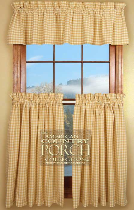 the country porch curtains cottage tan check curtain valances