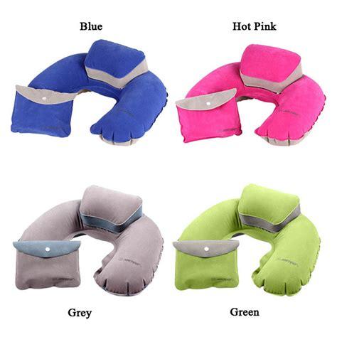Bantal Leher U Shape Air Up Portable Air Pillow U Shape Neck Up Cushion Pvc Flocking Folding Travel Office