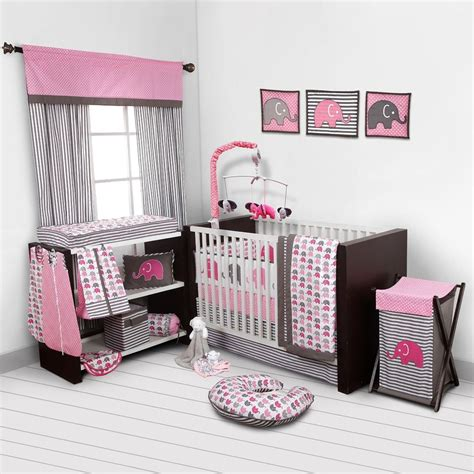 Baby Girl Bedroom Set Nursery Bedding Elephants Pink Grey Nursery Bedroom Sets