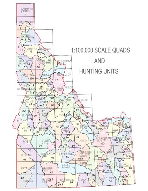idaho unit map idaho quads