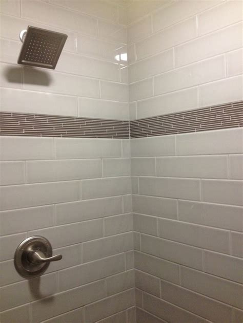4x16 subway tiled master shower with accent - Bathroom Tile Strips