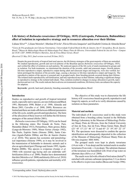 life history pattern and resource allocation life history of bulimulus tenuissimus pdf download