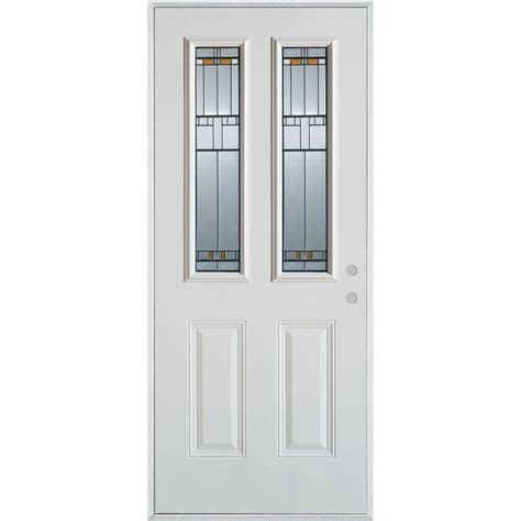 Steel Glass Panel Exterior Door Stanley Doors 32 In X 80 In Colonial 9 Lite 2 Panel Painted White Steel Prehung Front Door