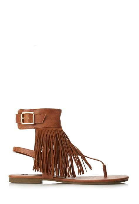 fringe boots forever 21 forever 21 free spirit fringe sandals in brown lyst
