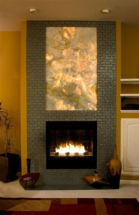 Back To Back Fireplace Design by Custom Onyx Back Lit Fireplace Detroit By Pascucci
