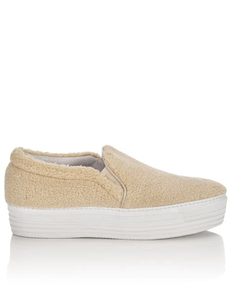 beige sneakers for joshua sanders fleece platform slip on sneakers in beige