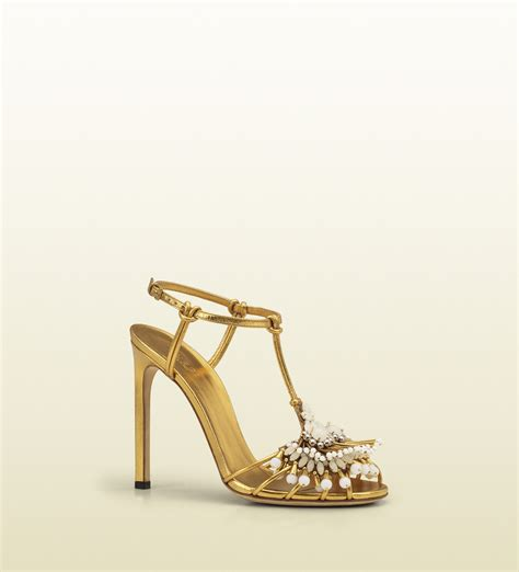 high heel sandals gold gucci phoebe high heel sandal with jeweled embroidery in