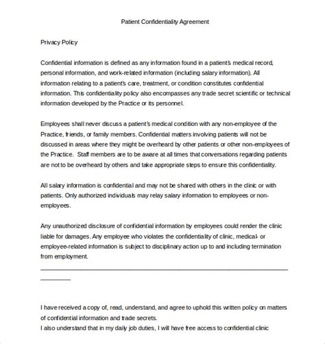 patient confidentiality agreement template 32 word confidentiality agreement templates free