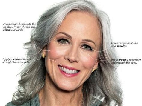 olive skin women with salt and pepper hair enhanced with highlights and lowlights evening makeup for gray hair