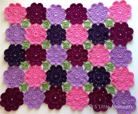 Pola Motif Gurita Pattern Patterns flower garden crochet blanket allfreecrochet