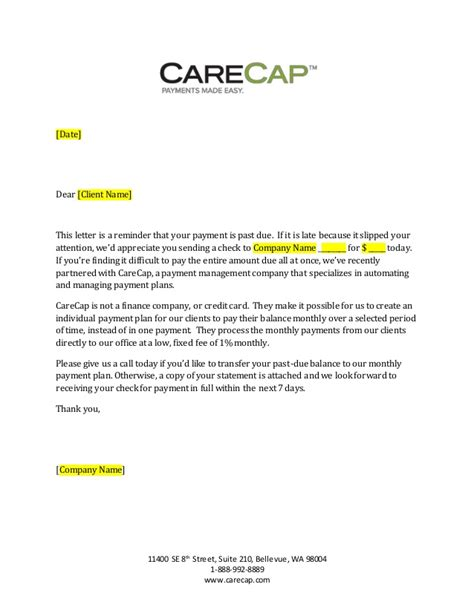 Letter Format For Payment Due Carecap 31 89 Day Past Due Payment Letter Generic
