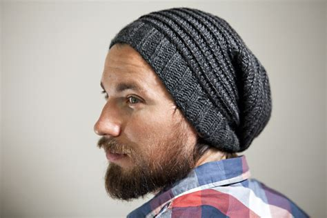 mens slouchy beanie knitting pattern s knit crochet slouchy hat in charcoal with spiral