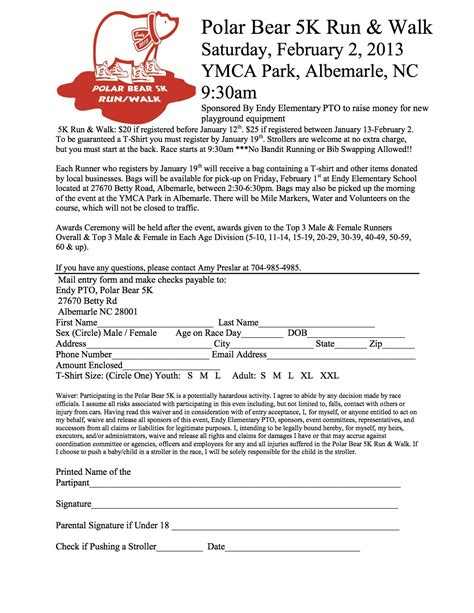 Polar Bear 5k Run And Walk Visitstanly Com 5k Race Registration Template